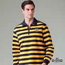 oillio歐洲貴族 長袖襯衫領款式POLO衫 輕鬆彈力質感棉質衣料 黃色