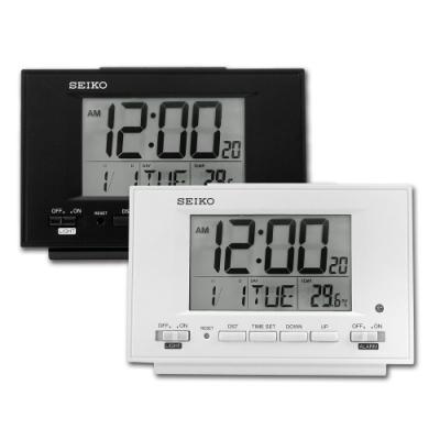 SEIKO 精工 / 自動感光 溫度 日期 貪睡鬧鈴 長方形鬧鐘 電子鐘-白/黑