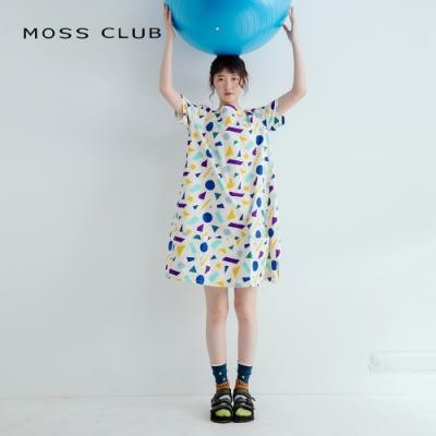 【MOSS CLUB】幾何圖騰-洋裝(綠色)