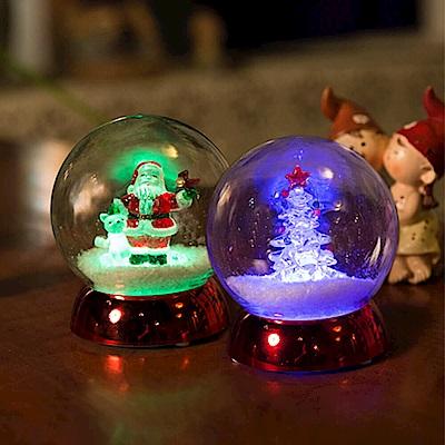 法國三寶貝 100MM聖誕樹&聖誕老公公雪地圓球LED夜燈擺飾