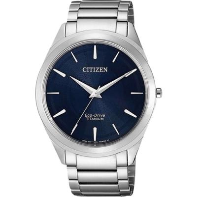 CITIZEN 星辰 GENT S光動能鈦金屬腕錶-銀藍(BJ6520-82L)39mm