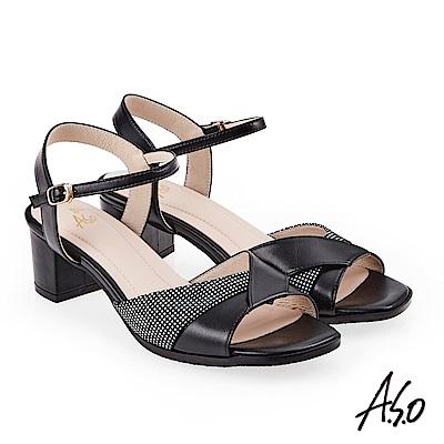 A.S.O 奇幻樂章  絨面羊皮拼接低跟涼拖鞋 黑色