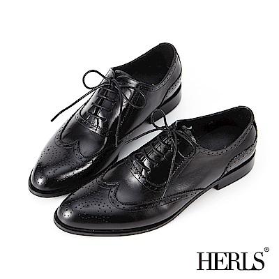 HERLS 時髦女紳 全真皮擦色雕花牛津鞋-黑色