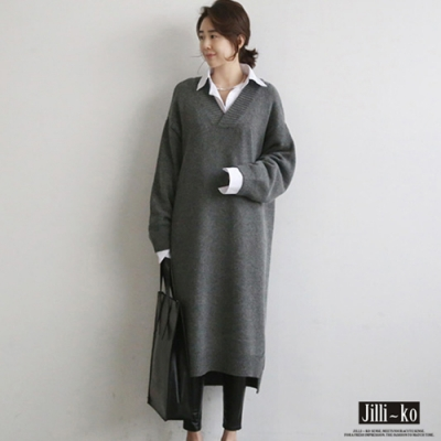 JILLI-KO 韓版V領加厚針織連裙- 灰/黑