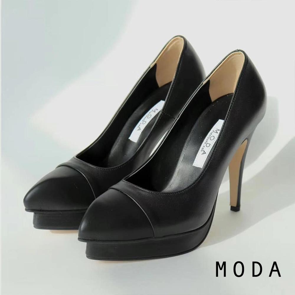 高跟鞋 正韓經典小香系拼接設計高跟鞋(黑色)MODA