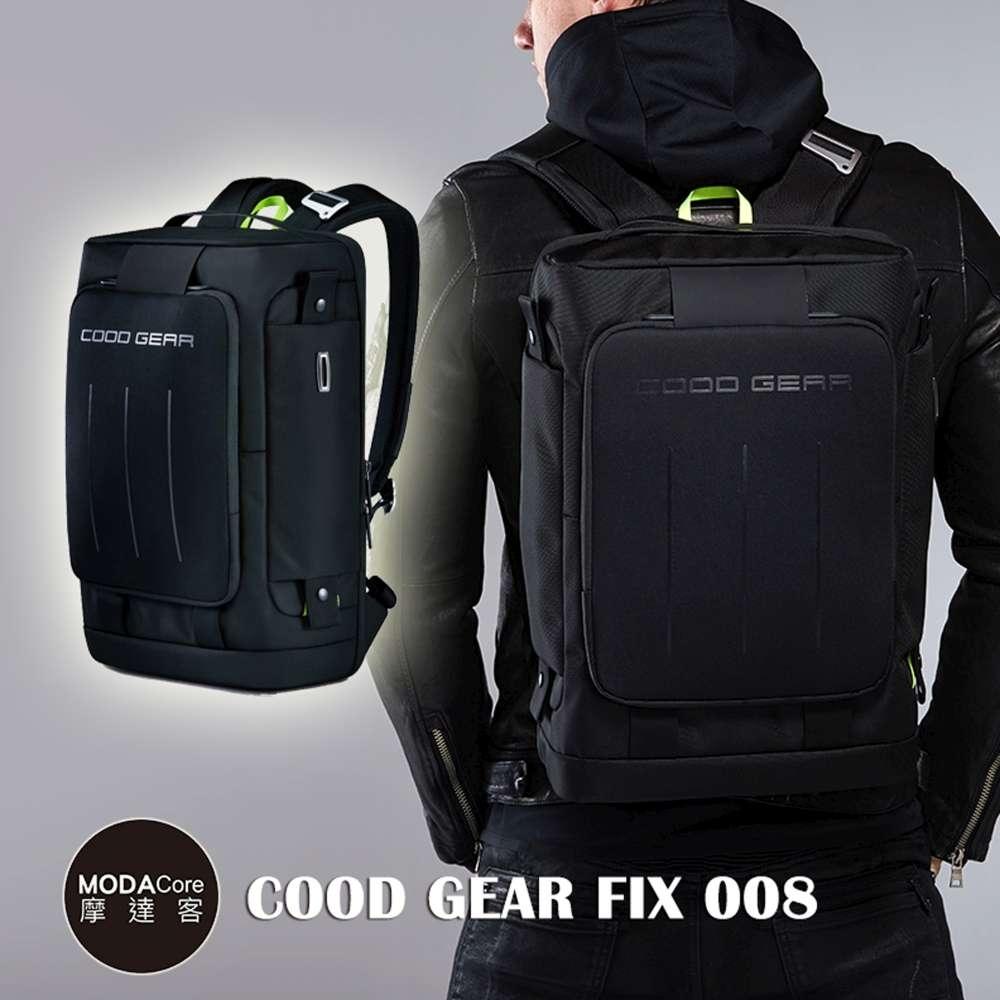 摩達客韓國COOD GEAR-FIX008金屬都會黑時尚防潑水科技人體工學雙肩後背包電腦包