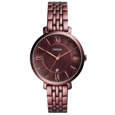 FOSSIL Jacqueline優雅時尚手錶(ES4100)-酒紅/36mm
