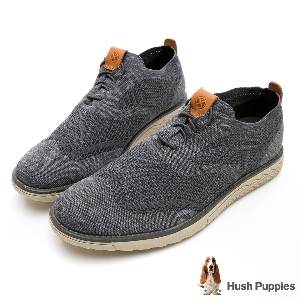 Hush Puppies Expert 針織綁帶男休閒鞋-淺灰色