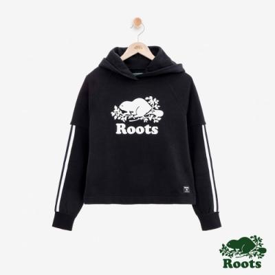女裝Roots- 飾邊落肩毛圈布連帽上衣-黑