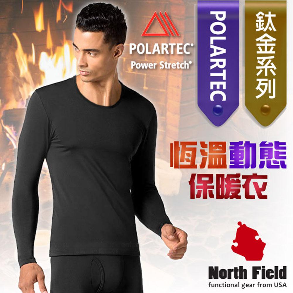 North Field 男 Polartec 圓領控溫強刷毛保暖衛生衣_黑色