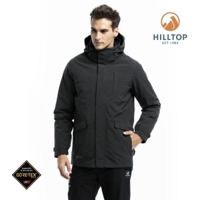 【hilltop山頂鳥】男款GORE-TEX防水羽絨短大衣F22MZ7黑色