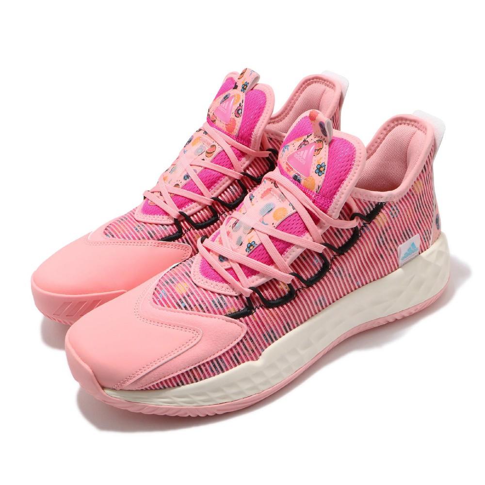 adidas 籃球鞋 Pro Boost Low 男鞋 愛迪達 亡靈節 骷髏頭 花 穿搭 粉 白 FZ3163