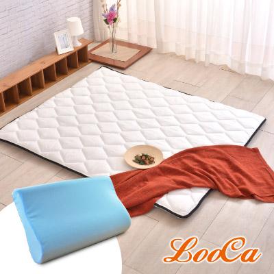 (贈記憶枕)LooCa 3M防潑水-超厚8cm兩用日式床墊(加大)