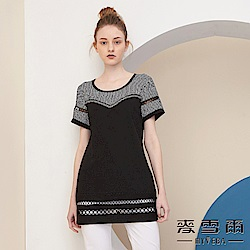 【麥雪爾】圓圈鏤空蕾絲水鑽條紋棉質上衣