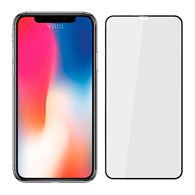 【YADI】Apple iPhone XS Max/6.5吋 平面滿版全膠/鋼化玻璃膜-黑