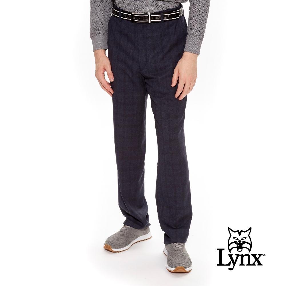 【Lynx Golf】男款歐洲進口布料特殊紋理伸縮腰頭雙折西裝長褲-深灰色