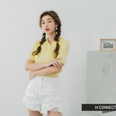 H:CONNECT 韓國品牌 女裝 -V領純色針織POLO-黃