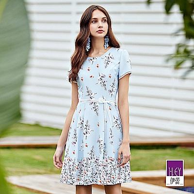 ILEY伊蕾 織帶造型花卉印花洋裝(藍)