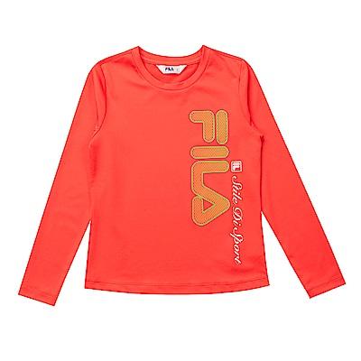 FILA KIDS 童抗UV吸濕排汗上衣-橘 5TES-8317-OR