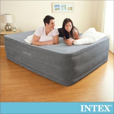 【INTEX】豪華橫條特高雙氣室雙人加大充氣床墊152x203x高56cm(64417)