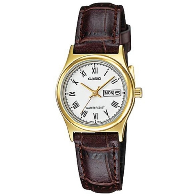 CASIO 簡約日期顯示羅馬時刻皮帶腕錶-白(LTP-V006GL-7B)/25mm