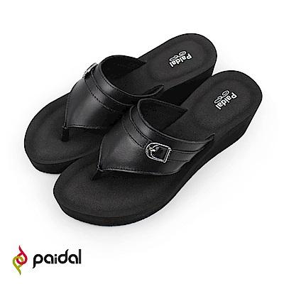 Paidal 優雅皮感美型腳床超厚底夾腳涼拖鞋-黑