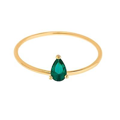 SHASHI 紐約品牌 Kamila 水滴鑽戒指 綠寶石 925純銀鑲18K金
