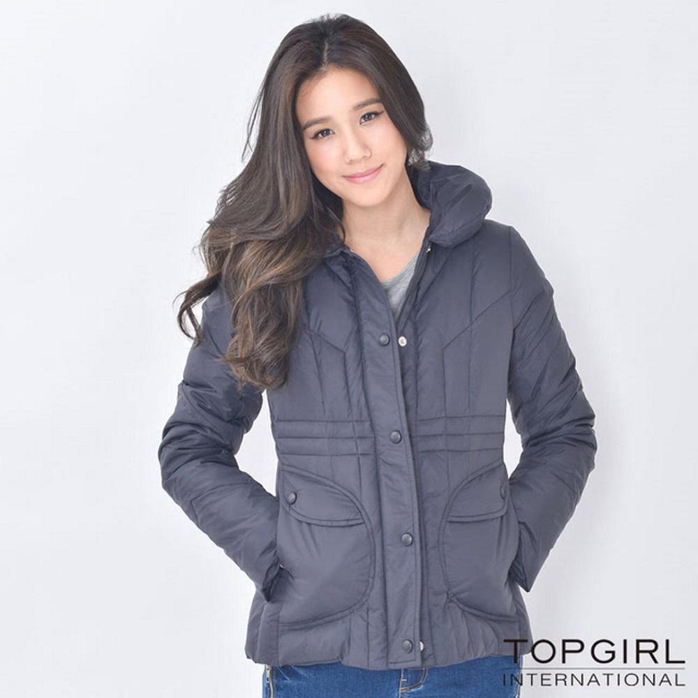 【TOP GIRL】舖羽絲棉立領外套 - 黑色