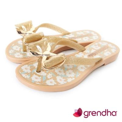 Grendha 瑪格麗特蝴蝶結夾腳鞋-女童-金色