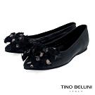 Tino Bellini絲帶蝴蝶結全真皮柔軟尖頭娃娃鞋_黑