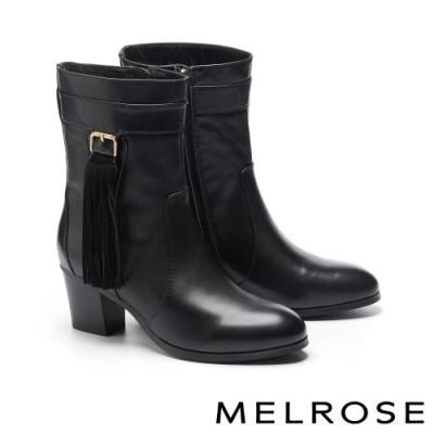 短靴 MELROSE 經典時髦流蘇造型牛皮粗高跟短靴-黑