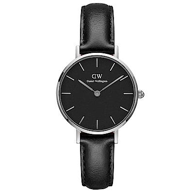 DW Daniel Wellington 浪漫雪菲爾黑色皮帶石英腕錶-銀框/28mm