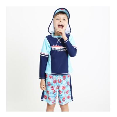 澳洲Sunseeker泳裝抗UV防曬短袖泳衣泳褲泳帽三件組-小男童-4193003LIG-BLU