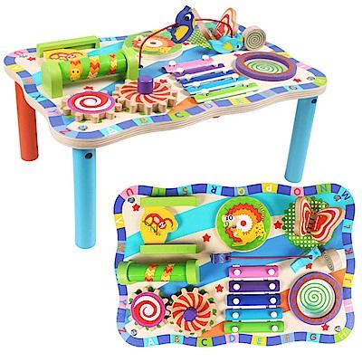 經典木玩  多功能益智積木玩具桌(36m+)