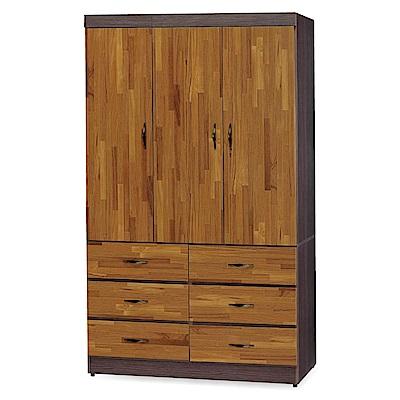 綠活居 拉雷斯3.9尺雙色六抽衣櫃/收納櫃(二色)-116x56x197cm-免組