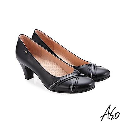 A.S.O 義式簡約 交叉裝飾鞋面高跟鞋 黑