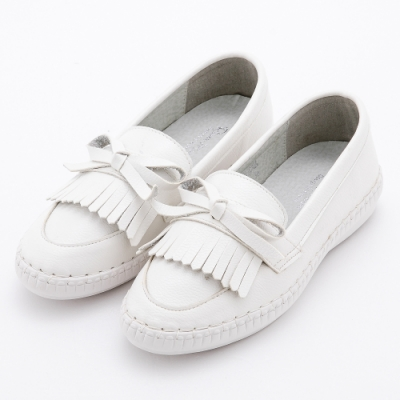 River&Moon大尺碼女鞋 流蘇朵結超纖乳膠小白鞋 白