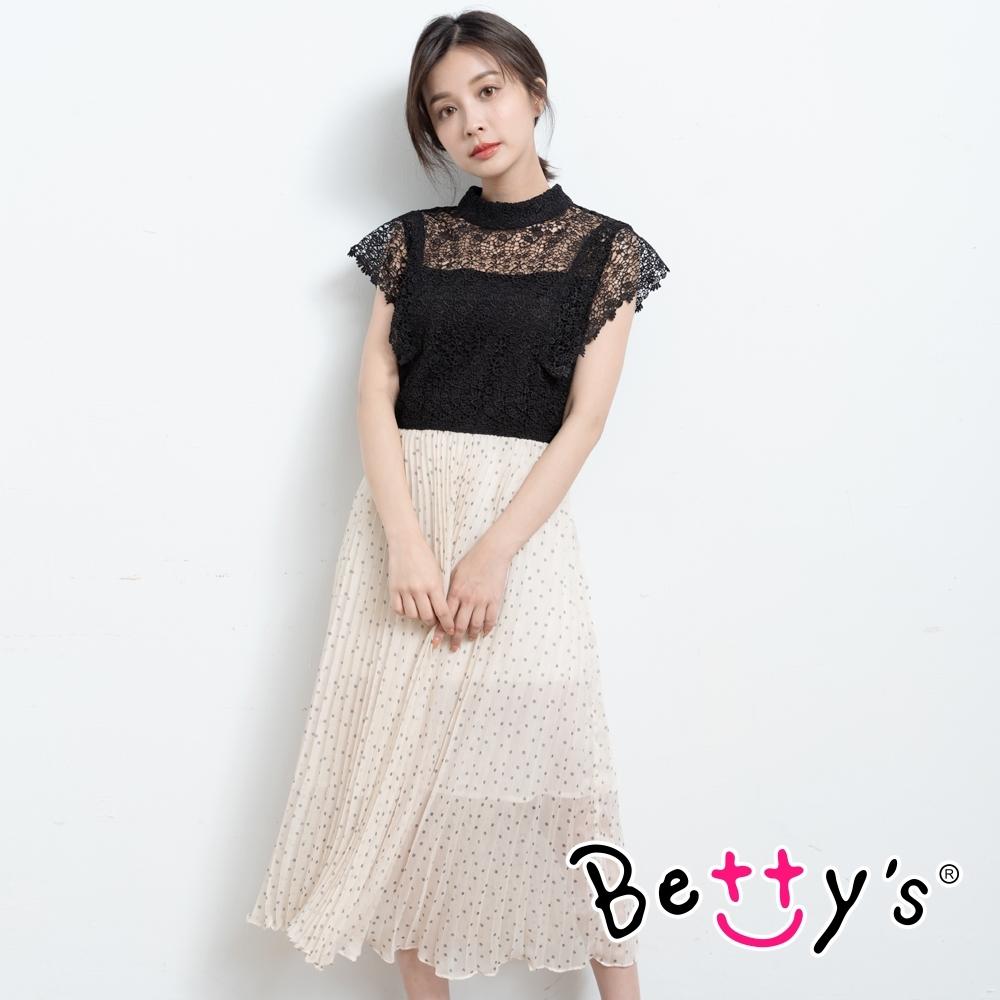 betty's貝蒂思 氣質款蕾絲雪紡洋裝(黑蕾絲)