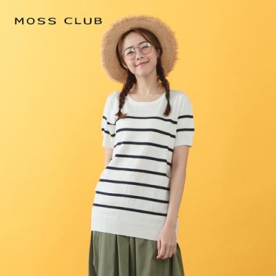 【MOSS CLUB】百搭條紋短袖-針織衫(淺藍色)