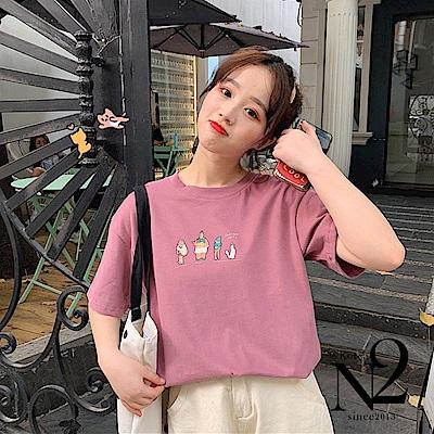 上衣 棉質少女感趣味人物印花短袖T恤短袖上衣(粉)N2
