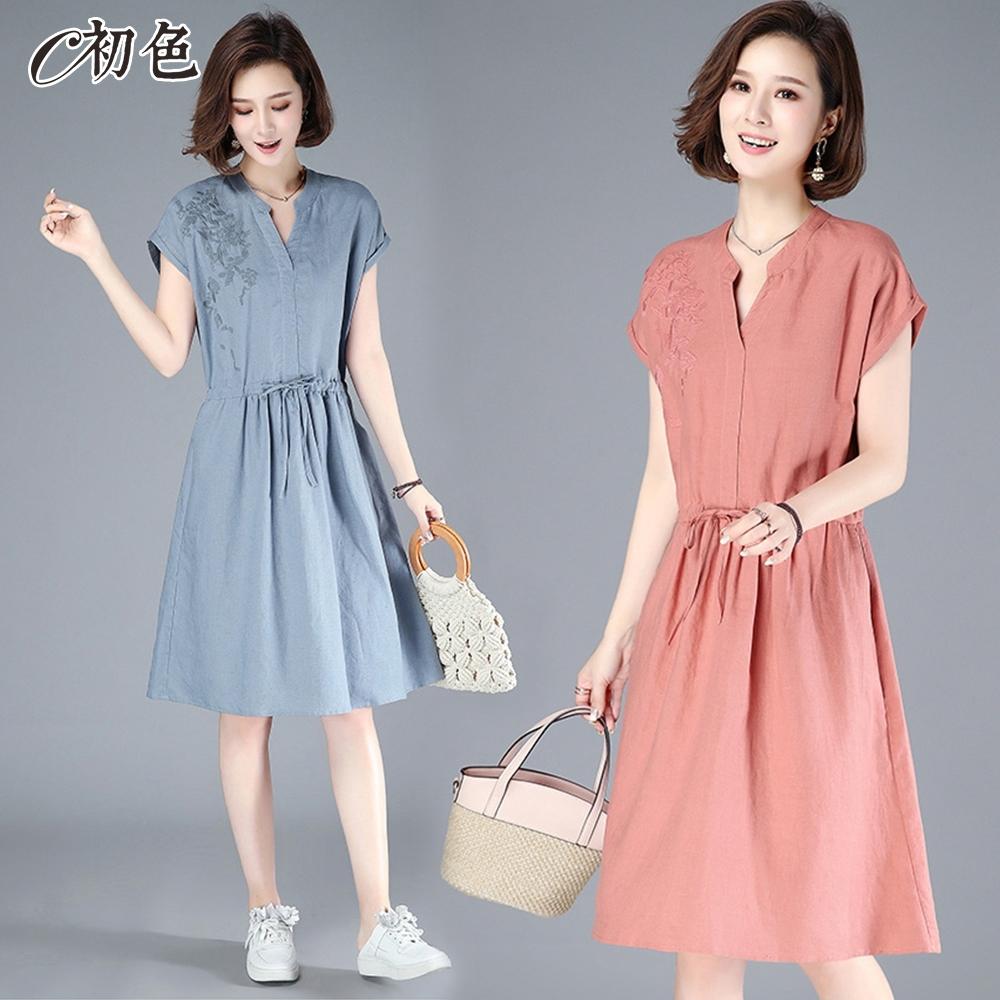 初色  古典繡花純色洋裝-共3色-(M-2XL可選)