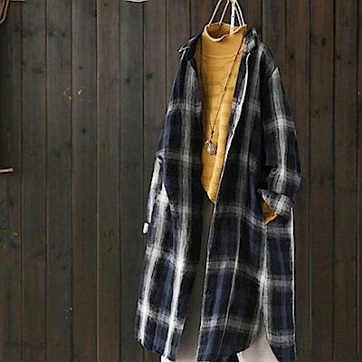 水墨亞麻格子襯衫外套棉麻開衫-設計所在