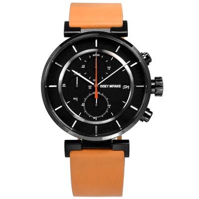 ISSEY MIYAKE 三宅一生 W系列 和田智設計師計時牛皮手錶-黑x卡奇/43mm