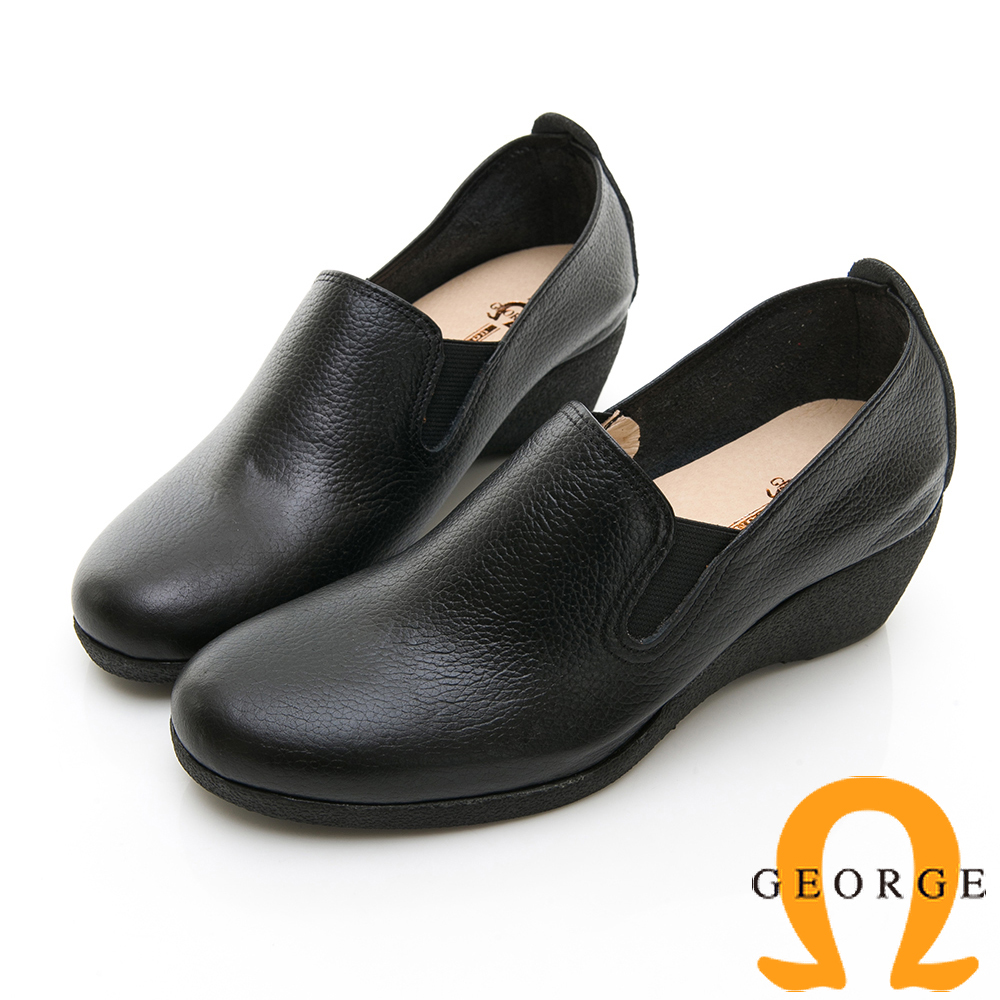 【GEORGE 喬治皮鞋】心機時尚素面增高楔型鞋-黑色