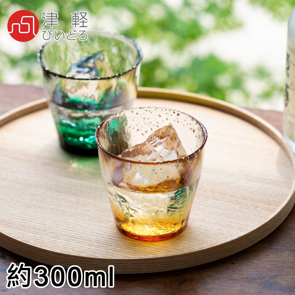 ADERIA 日本進口津輕系列手作金彩玻璃對杯禮盒300ML