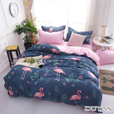 DUYAN竹漾 MIT 天絲絨-單人床包被套三件組-紅鶴樂園