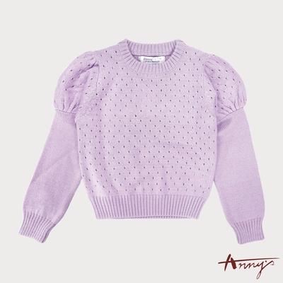 Annys甜美公主袖設計透視針織上衣*5265紫