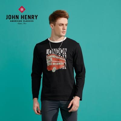 【JOHN HENRY】倫敦雙層巴士印花長袖T恤-兩色選