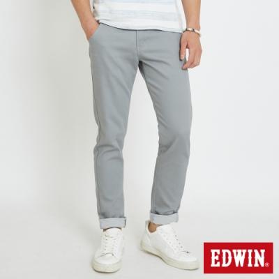 EDWIN 斜袋休閒COOL涼感 窄管牛仔褲-男-淺灰色