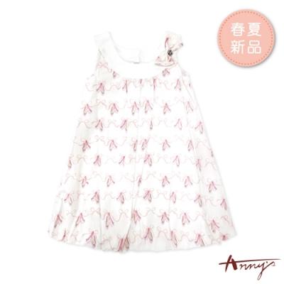 Annys安妮公主-緞帶舞鞋船型領蝴蝶結春夏款無袖花苞洋裝*9130粉紅